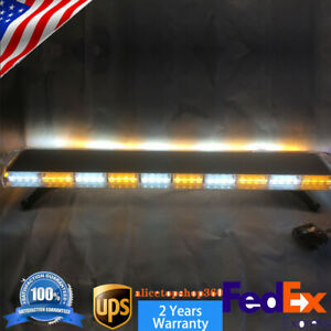 48 88 Led Amber White Emergency Strobe Light Bar Warning Tow Truck Response Top