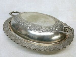 Antique Silverplate Serving Dish Covered Tray Floral Motif
