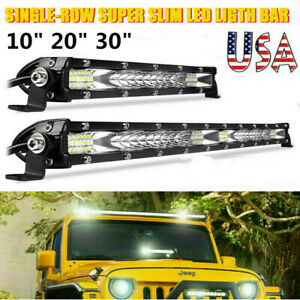 10 20 30 Slim Led Light Bar Spot Flood Combo Work Driving Offroad 4wd Atv Us