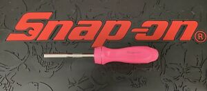 Snap On Tools Screwdriver Pink Hard Handle Ratcheting With 5 Bit Tips Brand New