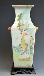 A Chinese Square Porcelain Famille Rose Vase