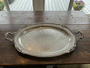 Antique Sheffield Silver Plated Serving Tray 31 By 19 Inches