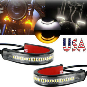 2x Flowing Amber Led Fork Turn Signals White Drl Light Strips For Motorcycle Us