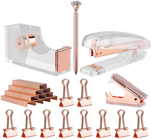 Rose Gold Desk Accessory Set Stapler Remover Tape Dispenser Diamond Ballpoint