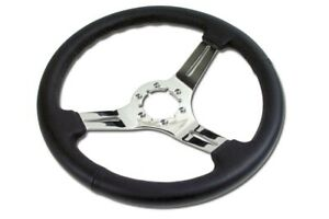 1968 1982 Corvette C3 Steering Wheel Black Leather Chrome 3 Spoke New