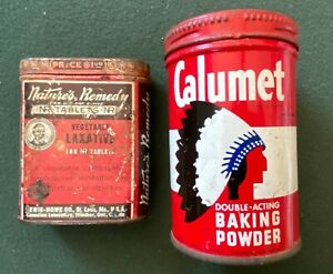 2 Vintage Tin Cans Laxative and Baking Powder