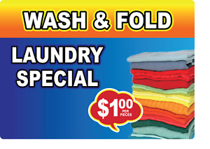 Wash Fold Laundry Special 1 oo Adhesive Vinyl Sign Decal