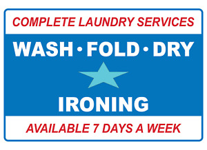 Complete Laundry Services Wash Fold Dry Ironing Adhesive Vinyl Sign Decal