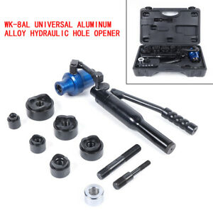 6 Dies 7 Ton Hydraulic Knockout Punch Tool Kit Hole Digger Universal 11 Gauge