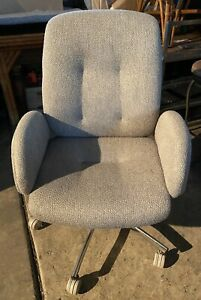Vintage Steelcase Chrome Fabric Swivel Office Chair W Armrest Model 4541774