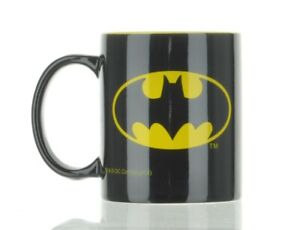 Vintage DC Comics Superhero Batman Coffee Mug Black /Yellow.  L1