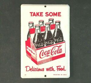 Vintage COCA COLA DELICIOUS WITH FOOD DOOR PUSH PULL Rare Old Advertising Sign