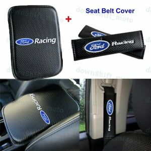 Carbon Fiber Center Armrest Cushion Pad Cover Seat Belt Cover For Ford Racing