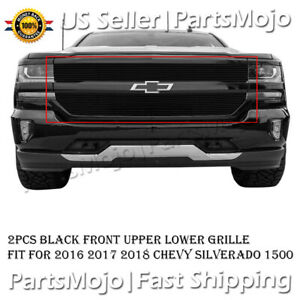 Black Billet Grille Insert For 2016 2017 2018 Chevy Silverado 1500 Front Grill