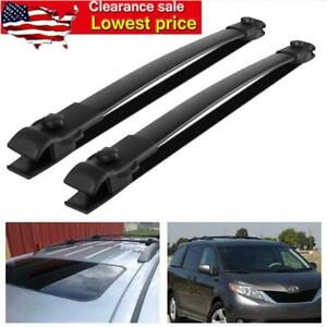 Roof Rack Cross Bars Luggage Carrier Black For Toyota Sienna 11 17 Aluminum