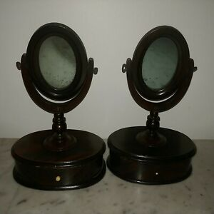 Rare Antique Pair Of Small American Wood Oval Dresser Mirrors With Drawers 1820s