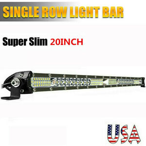 20inch Slim Led Light Bar Spot Flood Combo Work Suv Boat Driving Offroad Atv Us