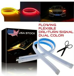 45cm Slim Led Switchback Headlight Sequential Drl Light Strip Red Yellow Amber