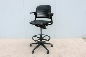 Steelcase Cachet Adjustable Ergonomic Black Swivel Drafting Stool Chair