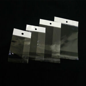 Opp Clear Plastic Self Seal Adhesive Packaging Bags Poly With Hang Hole 1 6 Mil