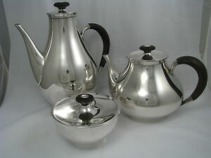 Mid Century Modern Sterling Silver Tea Set Teapot Coffee Pot Bowl By Gorham 1956