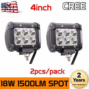 2x 4 inch 18w Cube Led Work Light Bar 4wd Offroad Spot Fog Atv Suv Driving Lamp