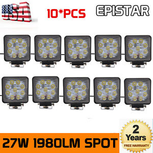 10x 27w Round Led Work Light Lamp Lamp Driving 4wd Truck Offroad Tractor 12v 24v