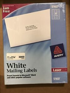 Avery Easy Peel Mailing Address Labels Laser 1 X 2 5 8 White 3000 box 5160
