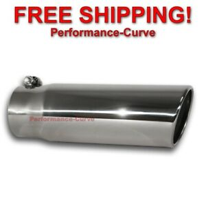 Stainless Steel Exhaust Tip Rolled Angle Cut 3 5 Inlet 4 Outlet 12 Long