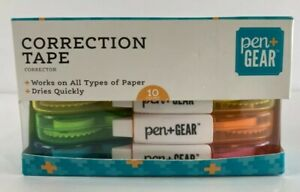 Pen Gear Correction Tape 0 2in X 19 7 Ft 10 Rolls Per Box White Out New