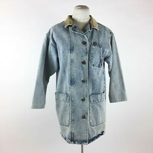 Vintage Lee Pocket Denim Jacket Sz S Acid Washed Long Corduroy Trim Unisex $69.99