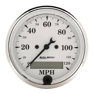 Auto Meter 1688 3 1 8 Speedometer Gauge 0 120 Mph Electric Old tyme White New