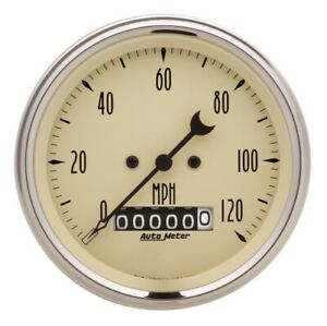 Auto Meter 1879 3 3 8 Speedometer Gauge Elec W Barrel Odo Antique Beige New
