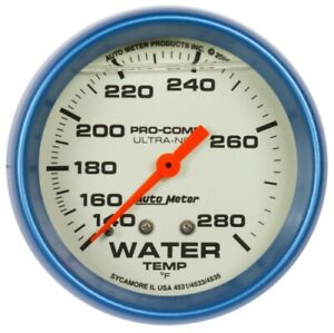 Auto Meter 4231 2 5 8 Water Temp Gauge Liquid Filled Mechanical Ultra nite New