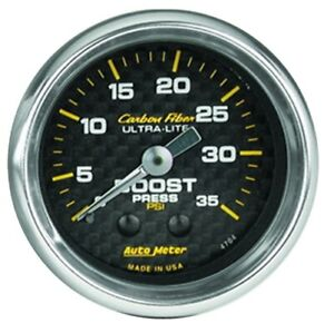 Auto Meter 4704 2 1 16 Carbon Fiber Mechanical Boost Gauge 0 35 Psi New
