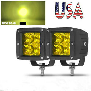 3inch Led Work Light Bar Spot Pods Driving Fog Offroad Atv Truck 4wd Yellow Us