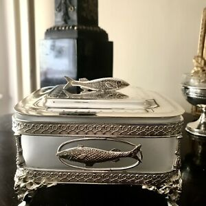 Antique Silver Plated Sardine Box Figural Fish Lid Footed Frosted Glass Liner