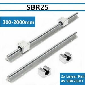 2pcs Sbr25 L300 1500mm Linear Bearing Rail Slide Guide Shaft 4x Sbr25uu Block