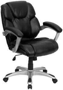 Mid back Black Layered Upholstered Executive Swivel Ergonomic Office Chair
