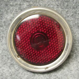 1946 1950 Jeep Stimsonite 1378 Red Glass Tail Light Lens W Bezel 50521