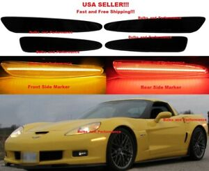 Smoked Lens Led Side Markers For 2005 2013 Chevy C6 Corvette Front
