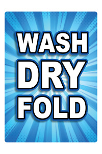 Wash Dry Fold Laundry Adhesive Vinyl Sign Decal