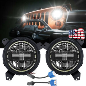 7 Round Led Headlights Halo Angle Eyes Brackets For Jeep Wrangler Jl 2018 2020