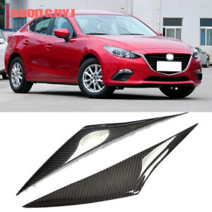 For Mazda 3 Axela 2014 2016 Carbon Fiber Eyebrows Headlight Eyelids Cover Trim