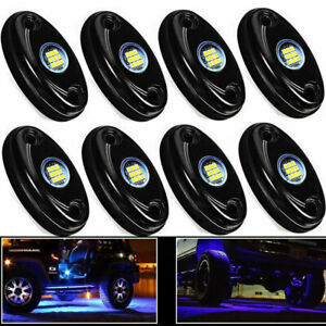 8pcs Blue Led Rock Light Lights For Jeep Off Road Truck Car Atv Under Body New