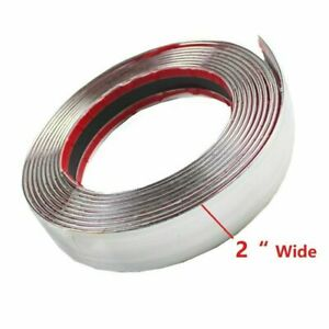 2 Chrome Molding Trim Strip Decorate Pvc Tape Bumper Door Guard Heavy Duty 9ft