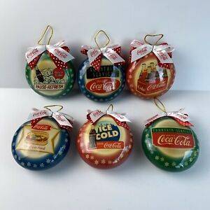Coca Cola Christmas Ornaments Set Lot of 6 1990s  Round Disc Two Sided Bows