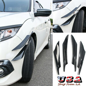 4x Carbon Fbiber Front Bumper Canards Diffuser Lip Splitter Fins For Honda Civic