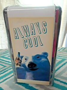 Vintage Coca-Cola Polar Bear Chrome Napkin Holder Always Cool