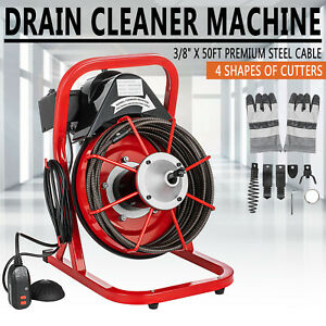 50ft X 3 8 Electric Drain Auger Drain Cleaner Machine 250w Sewer Snake W cutter